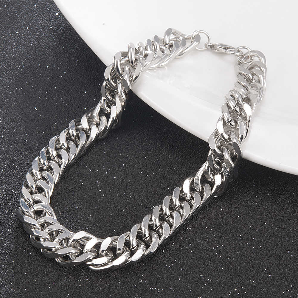 Wysokiej jakości mężczyźni stal nierdzewna stalowy łańcuch Link bransoletka moda łańcuch ręczny bransoletka prosta bransoletka biżuteria na prezent dla chłopaka