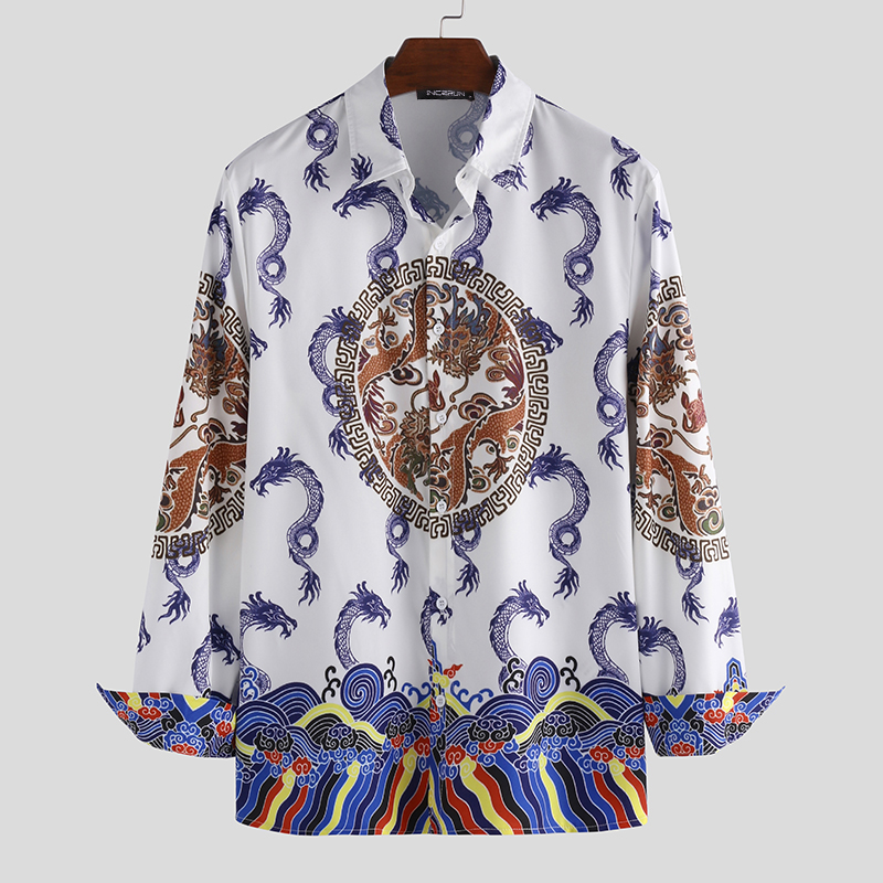 INCERUN Ethnic Style Printed Men Shirt Long Sleeve Brand Streetwear Casual Fitness Camisa Masculina Lapel Party Basic Shirt Men