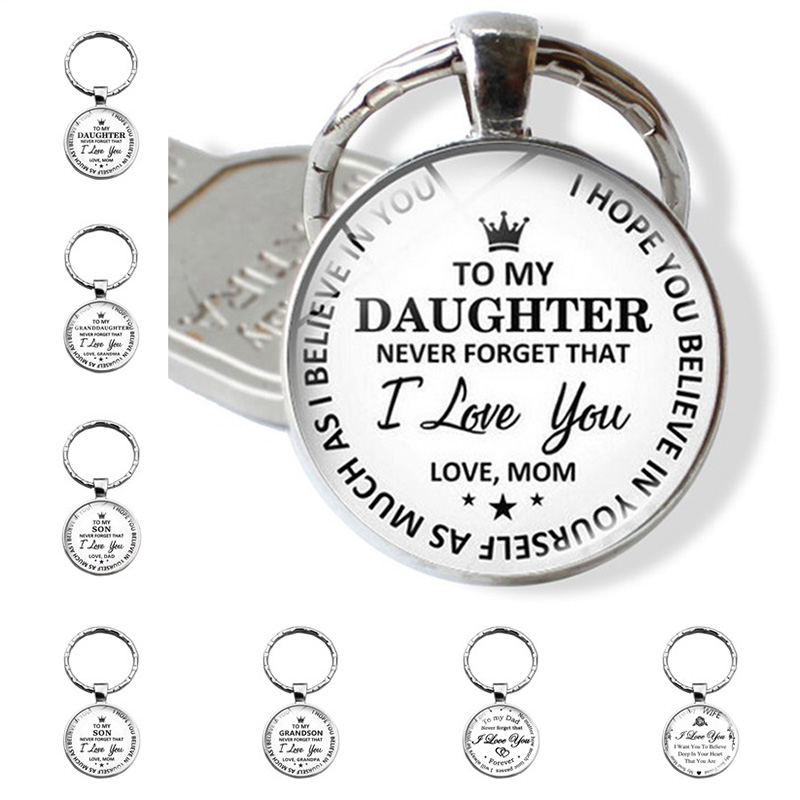 To My Daughter Metal Charm Pendant Keyring Key Chain Mom Dad Family Love