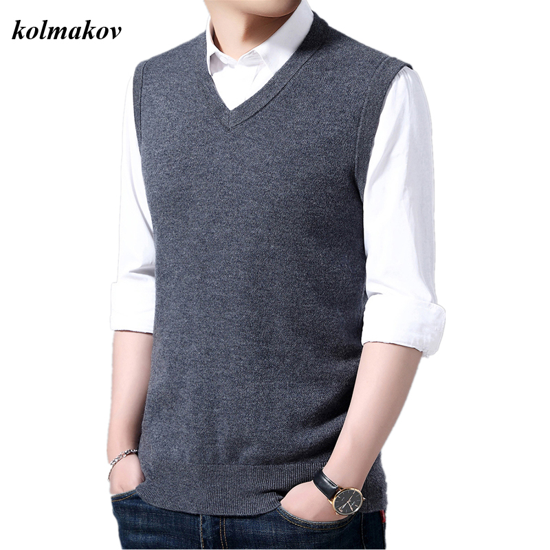 KOLMAKOV New Arrival Style Men Boutique Sleeveless Sweater Fashion Casual Solid V-neck Pullovers Men's Woolen Sweaters M-3XL