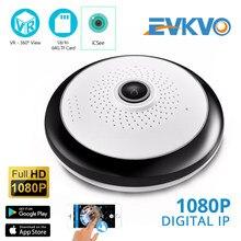 Evkvo icsee 360 graus fisheye wifi ip cctv câmera 1080p vr panorâmica sem fio indoor câmera de segurança em casa com slot para cartão sd