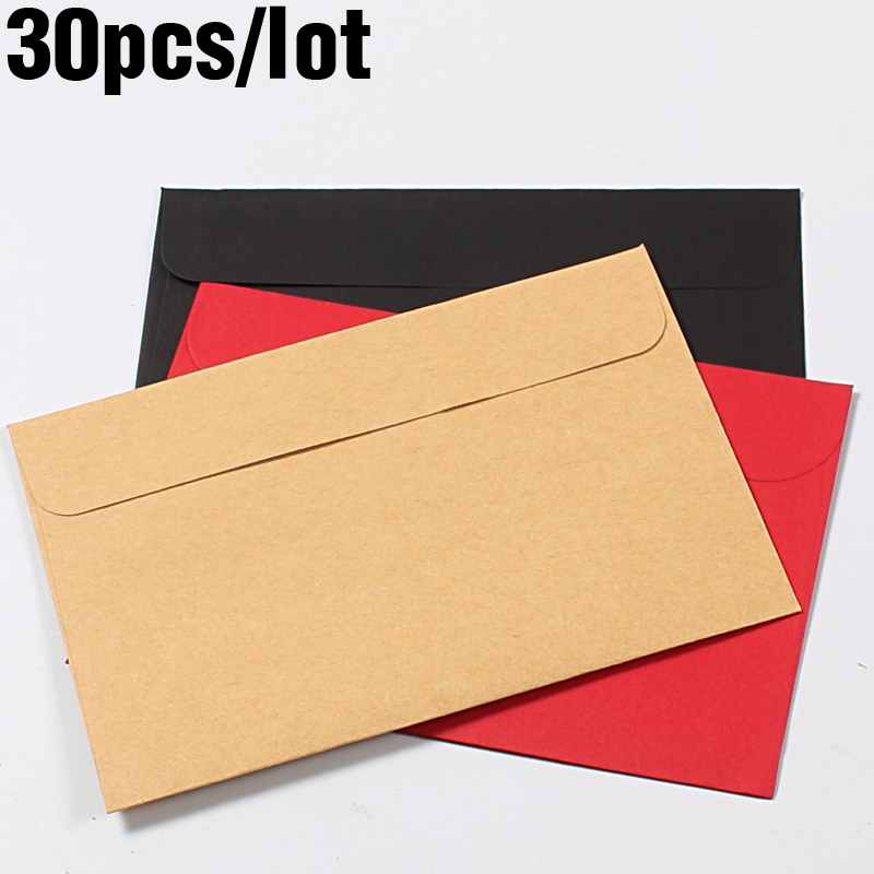 30pcs/Pack Retro Kraft Clear Envelope Red Letter Set Mailers Budget Envelopes for Invitations Vintage Stationery Gift Card image