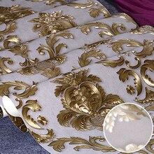 Бежево-серая Роскошная блестящая золотая Цветочная Дамасская настенная бумага текстурированная желтая виниловая Дамасская полоса настенная бумага рулон гостиной спальни