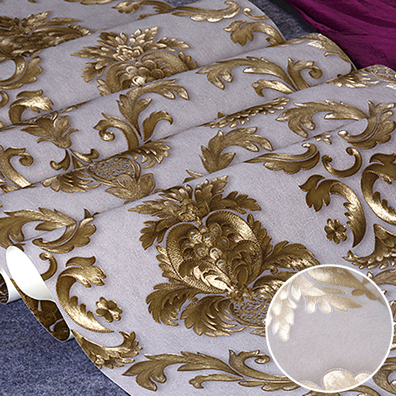 Beige-Grey Luxury Glitter Gold Floral Damask Wallpaper Textured Yellow Vinyl Damask Stripe Wall Paper Roll Living Room Bedroom