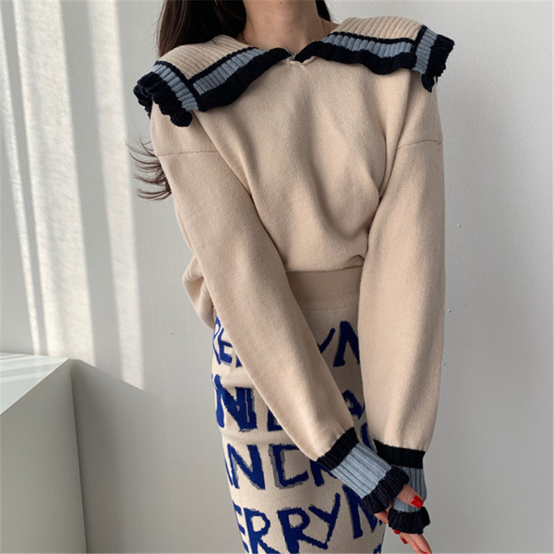 Alien Kitty Color-Hit Loose Patchwork Casual Brief Sailor Collar Chic Elegant Korea Office Lady Stylish Gentle Fresh Sweaters