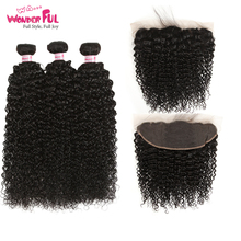 WA...WONDERFUL Kinky Curly 10-30 Peruvian Remy Hair Nature Color 3 4 Bundles With Lace Frontal 100% Remy Human Hair wa wonderful loose wave 10 30 m brazilian remy hair nature color human braiding hair bulk human hair braids