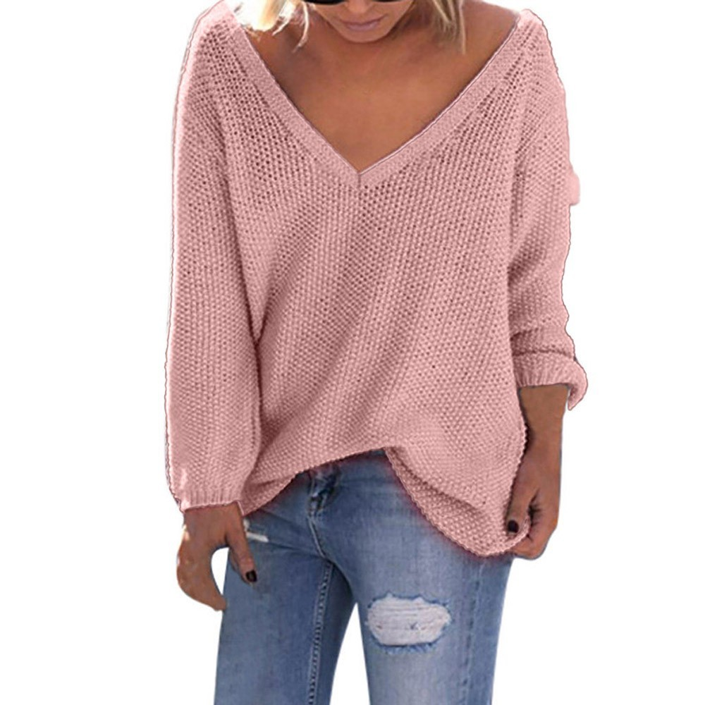 Women V-Neck Solid Long Sleeve Loose  Tops knitting Sweater Blouse winter clothes women
