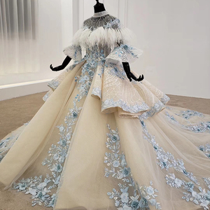 Image 3 - HTL1112 Special Colorful Luxury wedding dress 2020 Cape Feather Half Sleeve Appliques Bridal Dress Gown