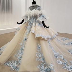 Image 3 - HTL1112 özel renkli lüks düğün elbisesi 2020 Cape tüy yarım kollu aplikler gelin kıyafeti