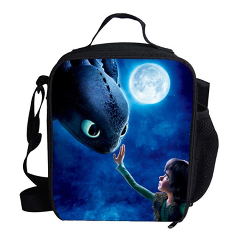 Bolsa dos Desenhos Bolsas de Piquenique Portátil para a Escola Anime Dragon Cooler Almoço Animados Meninas Comida Térmica Crianças Meninos Lancheira Tote