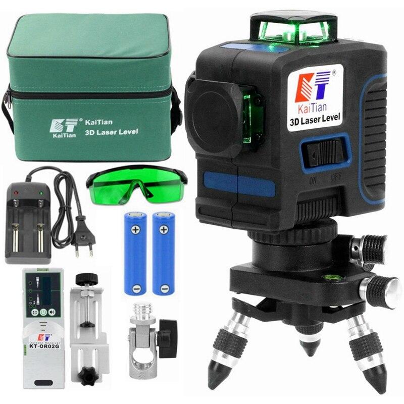 Kaitian 12 linhas 3d laser nível receber auto-nivelamento horizontal 360 vertical cruz super poderoso verde laser 3d feixe linha nível