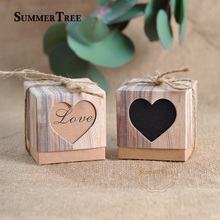 100pcs Romantic Lover Black Heart Window Candy Box Wedding Decoration Vintage Kraft Favors Gift Boxes with Burlap Twine Chic