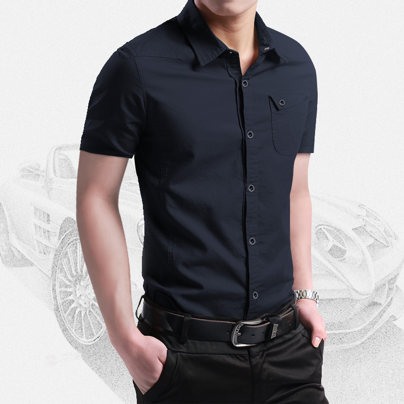 2021 New Summer 100% Cotton Shirts for Men New Breathable Military Men Shirts Short Sleeve Slim Men's Shirts Men Brand Clothing 2