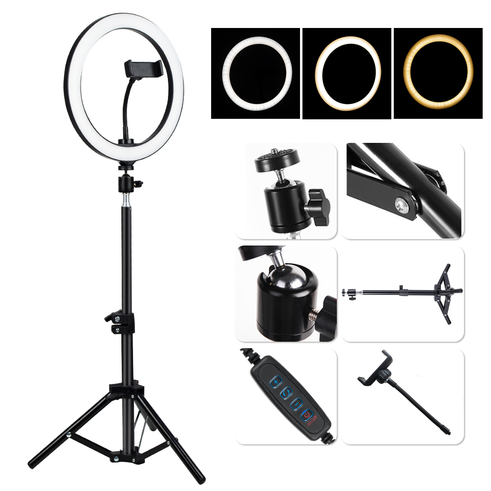 LED Selfie Ring Light Dimmable LED Ring Lamp Photo Video Camera Phone Light Ringlight For Live YouTube Fill Light