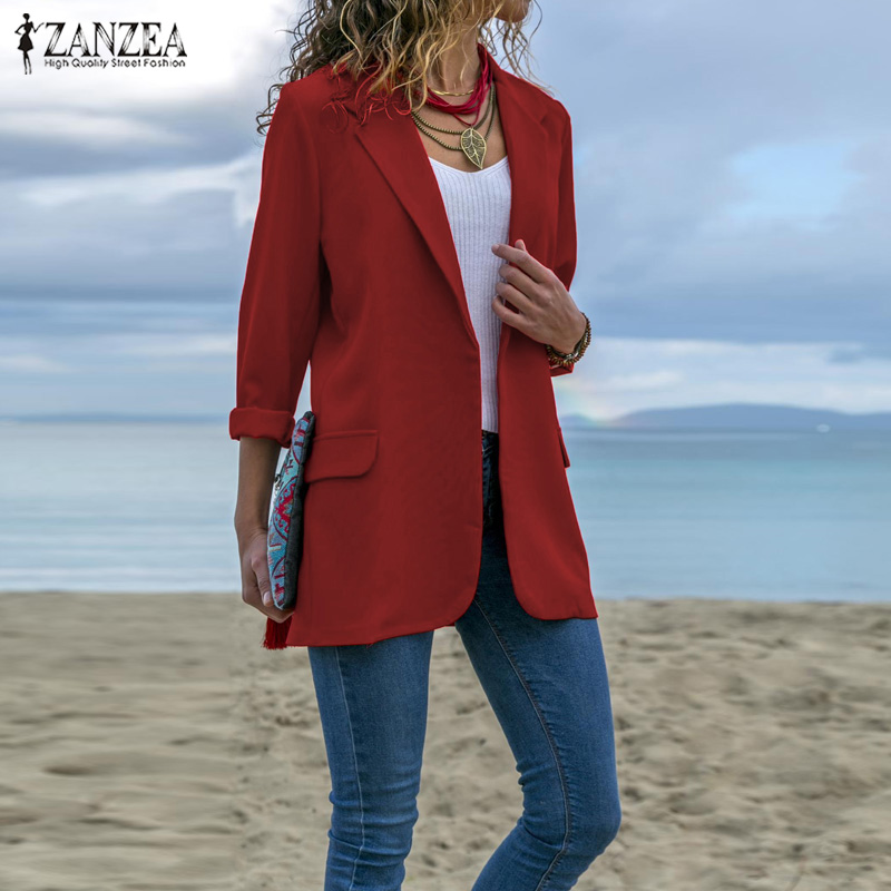 ZANZEA Women Casual Solid Lapel Neck Blazers 2019 Autumn Winter Coat Oversize Office Lady Business Blazer Outwear Womens Blazers