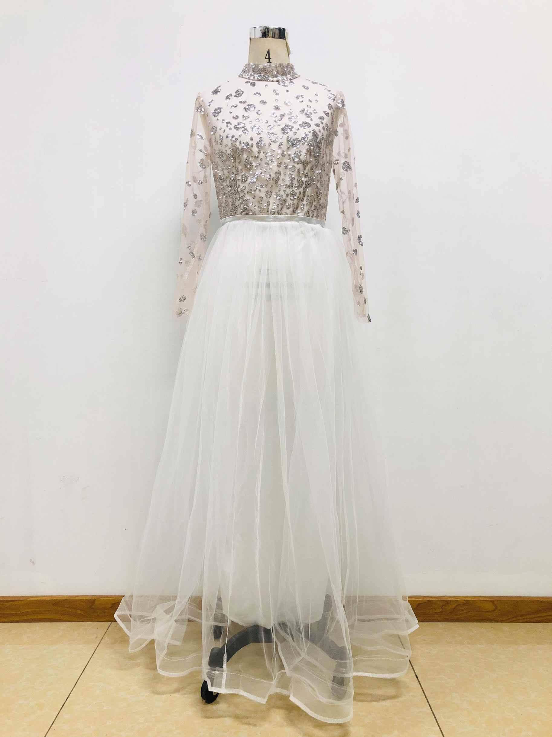 Brillant femmes robe en maille pure une ligne longue robe Maxi col faux élégant soirée robe de soirée mince blanc Organza Vestidos tenues