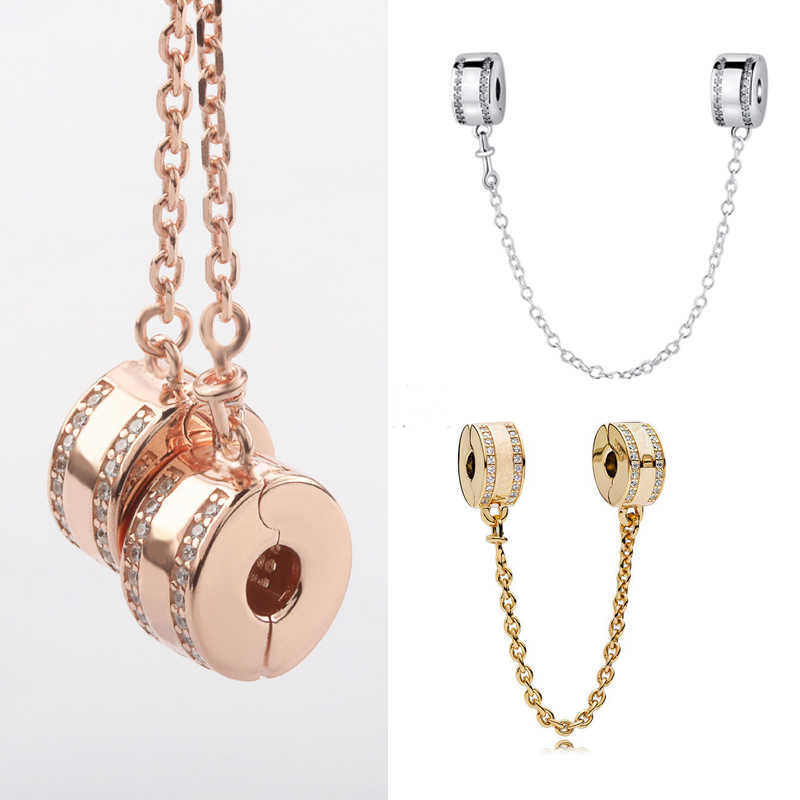 Free Shipping Authentic 925 Sterling Silver Safety Chain Rose Golden Charms Fit Original Pandora Bracelet For Women DIY Jewelry