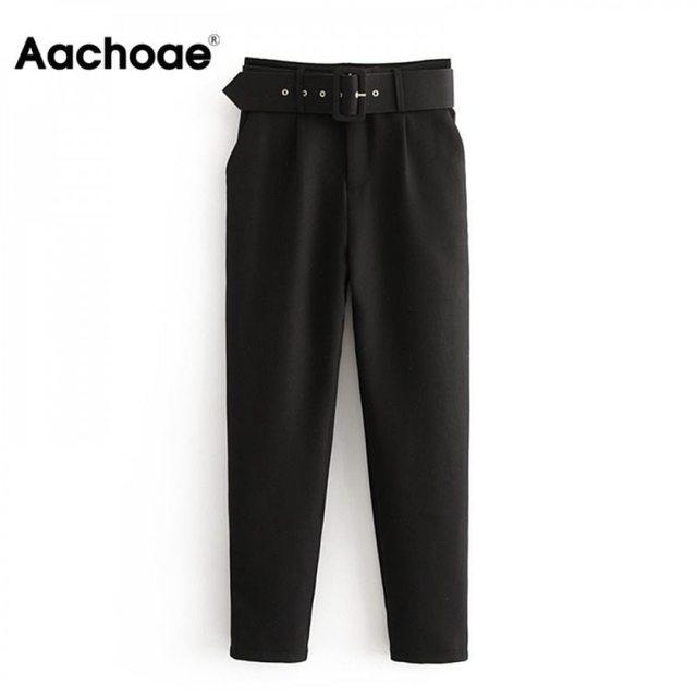 Office Lady Black Suit Pants 1