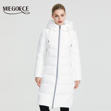 MIEGOFCE 2019 New Winter Women Collection Coat Ladie Winter Jacket Below Knee Length Warm Coat With Hood Protect Ffrom Wind Cold cheap Office Lady Ages 35-45 Years Old zipper D99201 Full COTTON Polyester Sustans Thick (Winter) Woven Slim Solid X-Long 1 32KG