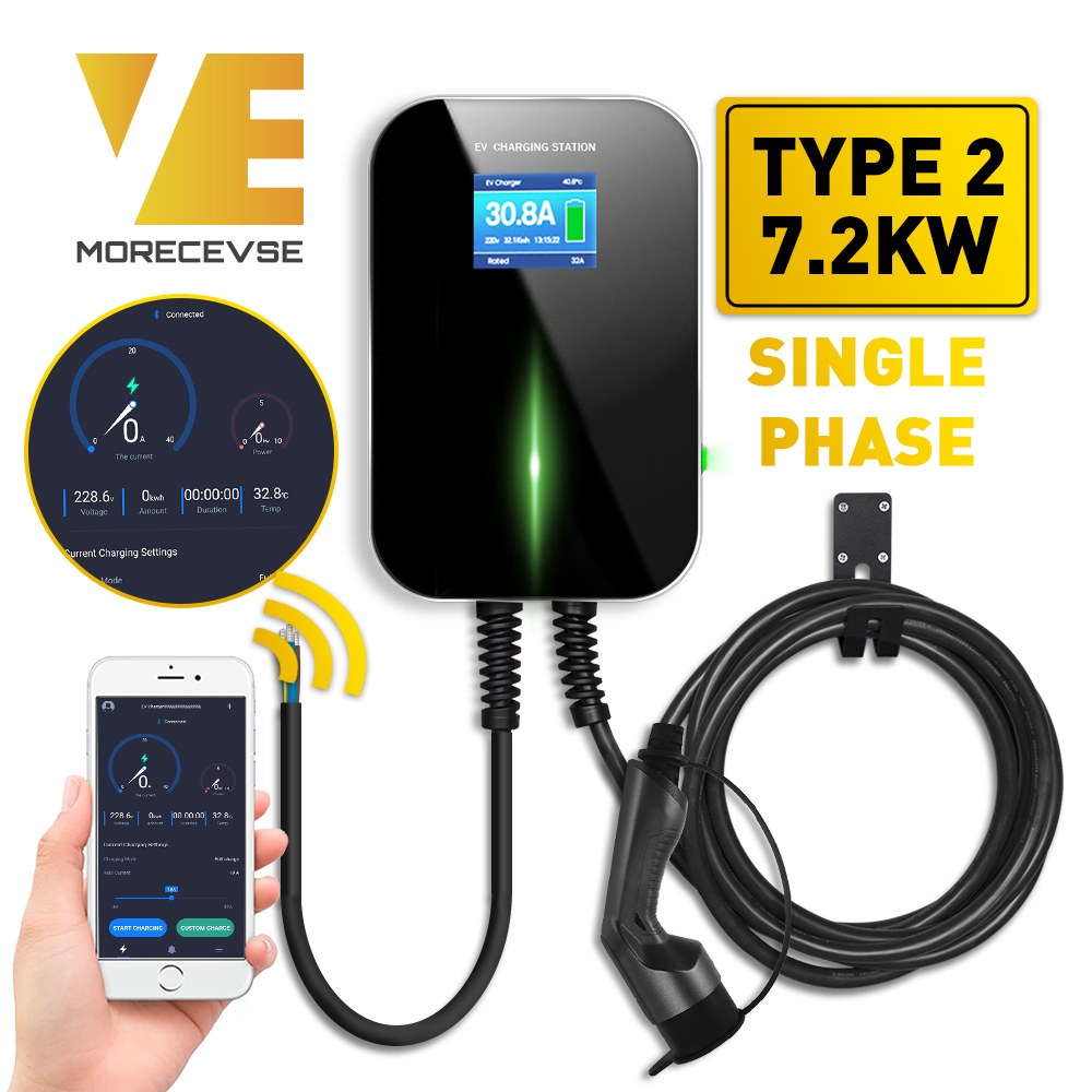 32A 1Phase APP Version EV Charger Electric Vehicle Charging Station With Type 2 Cable IEC 62196-2 For Mercedes-Benz MINI Cooper