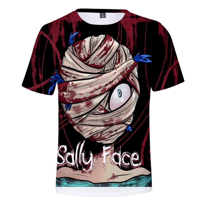 Harajuku Game Sally Face 3D Print Tshirt Men/women Summer Streetwear T shirt Boy Kawaii White Tops Clothing 4XL camisetas hombre