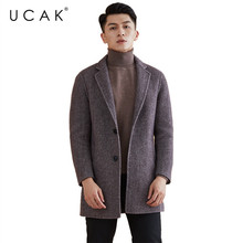 UCAK Brand 100% Wool Coat 2019 New Arrival Winter Coat Men Fashion Casual Jacket Men Thick Warm Mens Coats trench Overcoat U8004 kenmont new arrival brand winter hat 100