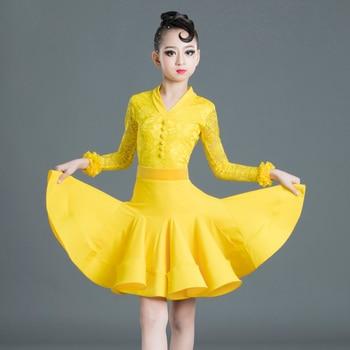 Latin Dance Dress Kids Dresses For Girls Tops Skirts Suit Lace Dress Competition Red Dress Children Cha Cha Rumba Costume BI512