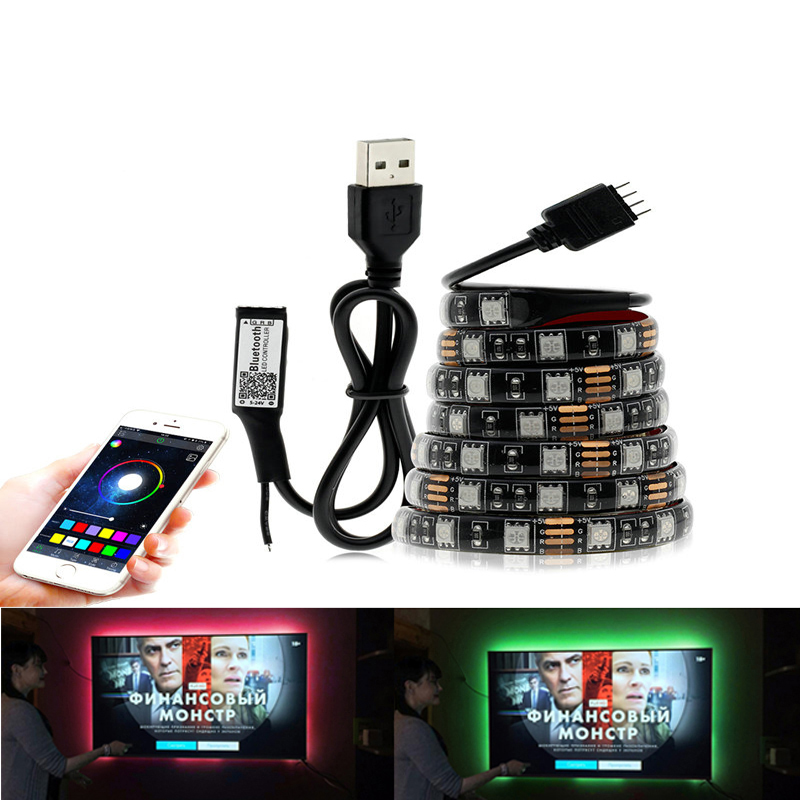 DC 5V RGB LED Light Waterproof 60led 5050 RGB LED Strip Tape Lamp Diode Ribbon Flexible TV Backlight With Rgb Romote Controller