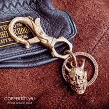 Coppertist.Wu Demon for Japan Evil Oni Hannya ghost Mask pendant punk Necklace skull Brass keychain Evil Horn for Halloween Gift цена и фото