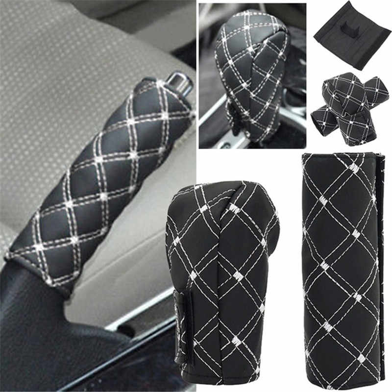 Mobil Faux Kulit Gear Shift Knob Cover Rem Tangan Penutup Lengan 2 In 1 Set Aksesoris Yang Terpasang Di Mobil Tangan rem Blok Penutup Lengan