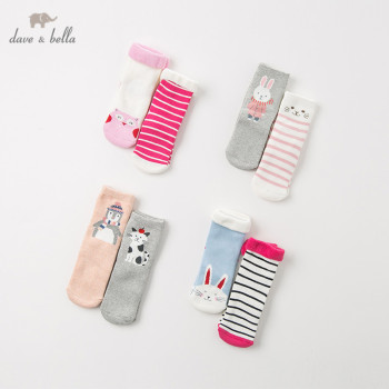 DB11968 dave bella autumn winter baby girl print sock children cute socks 2pcs image