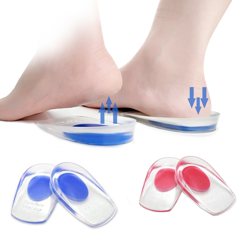 2 Pair Soft Silicone Increase Heel Support Pad Cup Gel Shock Cushion Orthotic Insole Plantar Care Half-height for men and women