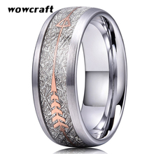 8mm Silver/Gold/Rose Gold Tungsten Steel Rings for Men Women Wedding Bands Arrow Inlay Meteorite Inlay Matte Finish Comfort Fit tailor made luxury western rose gold color inlay health surgical stainless steel wedding bands rings sets