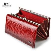 HH Alligator kobiet portfele luksusowe patentowe prawdziwej skóry krokodyla panie sprzęgła kiesa Hasp długie monety wielofunkcyjne torebki