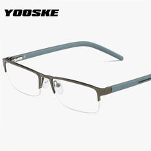 YOOSKE – lunettes de lecture avec demi-monture métallique pour homme, hypermétropie, Prescription + 1.0 1.5 2.0 2.5 3.0 3.5 4.0