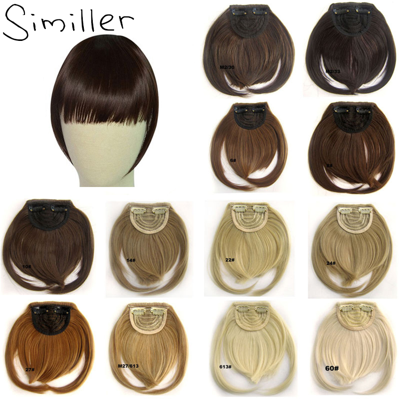 Similler черные короткие фронтальные тупые челки с зажимом, искусственные волосы для наращивания, прямые синтетические шиньоны 34 Цвета