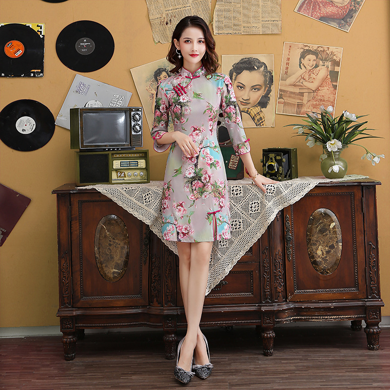 Chinese Traditional Style Rayon Cheongsam Elegant Women' S Handmade Button Dress Mandarin Collar Sexy Short Dress Size S-XXXL