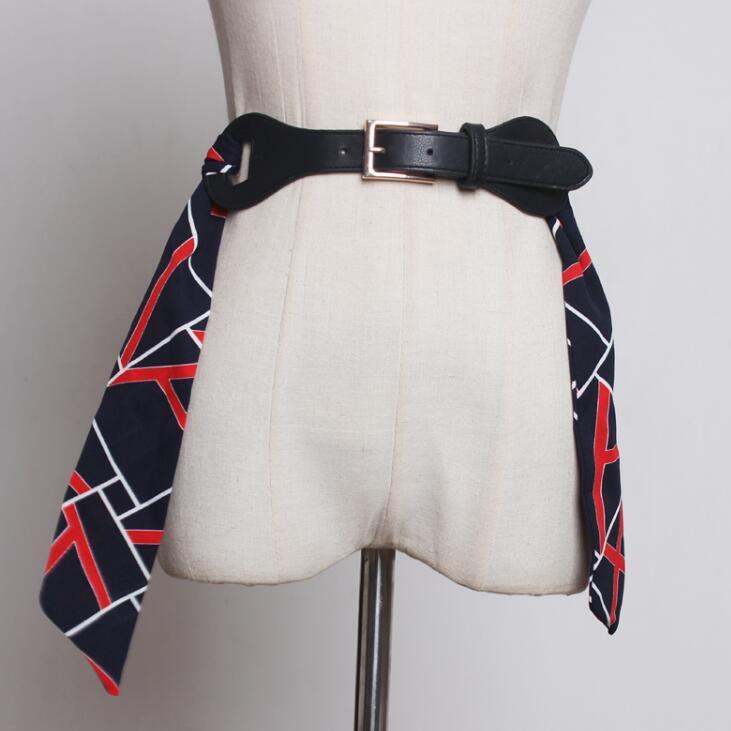 Women's Runway Chiffon Pu Leather Cummerbunds Female Dress Corsets Waistband Belts Decoration Wide Belt R1853
