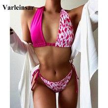 Female Swimsuit Bikini-Set Splicing-Print Two-Pieces Swim-V2500 HALTER Women 4-Color