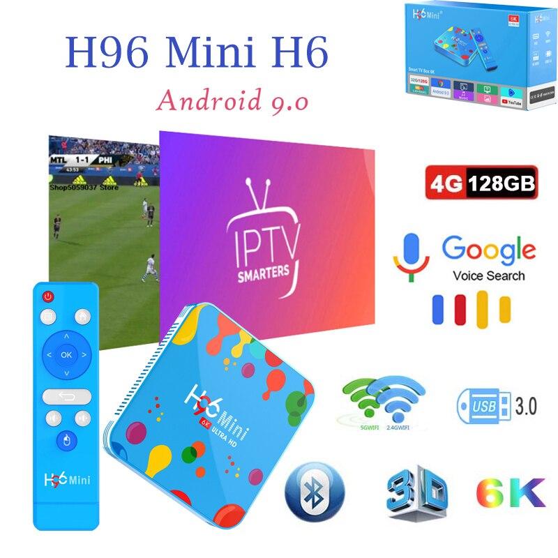 Décodeur tv intelligent h96mini h6 android9.0 boîtiers tv 6K HD H.265 Wifi lecteur multimédia récepteur TV 4GB 32 GB/128 GB support iptv brasil