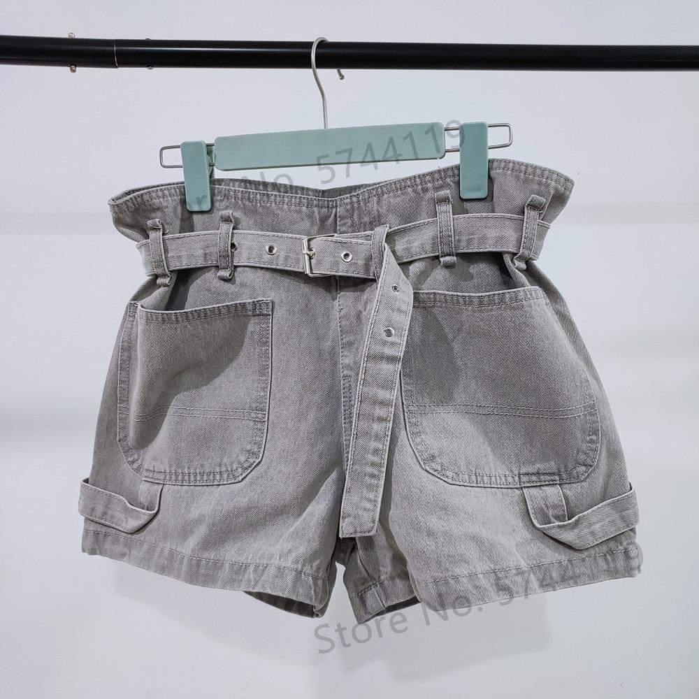 Women Denim Shorts Straight High-waist Belt Casual Wild Lady Jeans With Pocket 2020 Spring Summer New