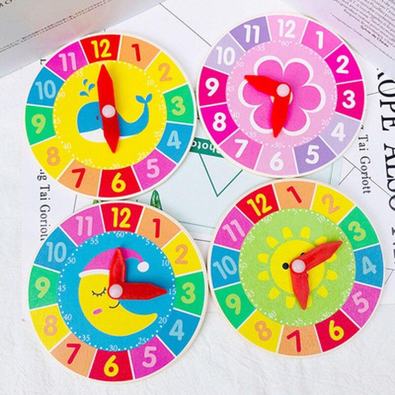 Детские деревянные часы Монтессори, часы с часами и секундой познания, красочные часы, игрушки для детей, раннее Дошкольное обучение, помощь