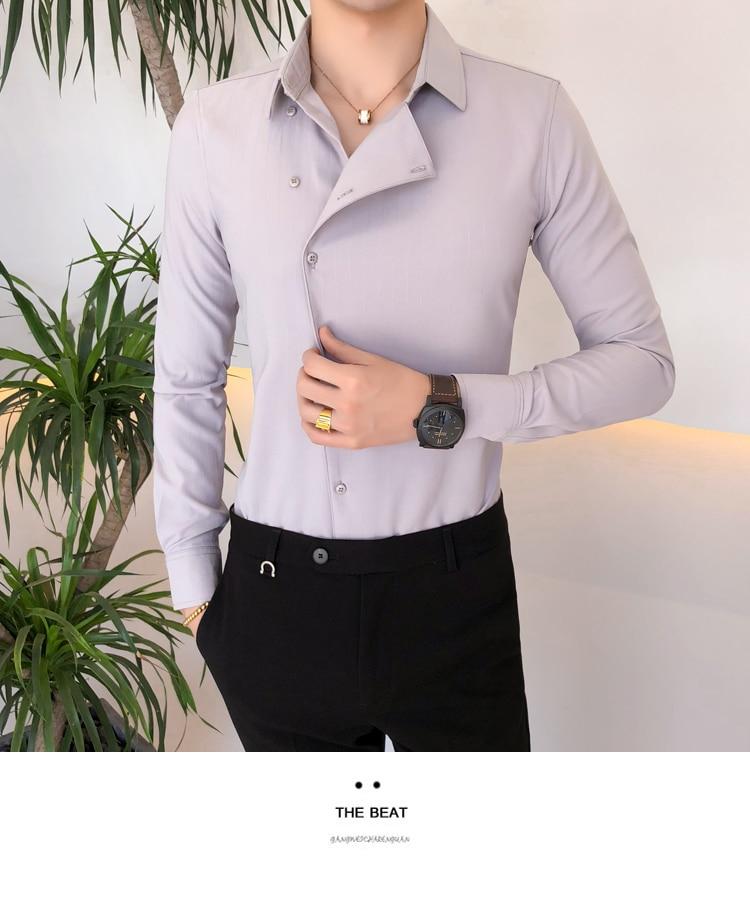 H6244487c58234a5288571600d4c8c2c8C Solid Color Shirt Dress Brand New Slim Fit Men Shirt Solid Long Sleeve Shirts Men Camisa Masculina Tuxedo Clothes