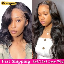 Short Bob Wigs Lace Closure Hairline Human-Hair Body-Wave Vrvogue Black Pre-Plucked Natural