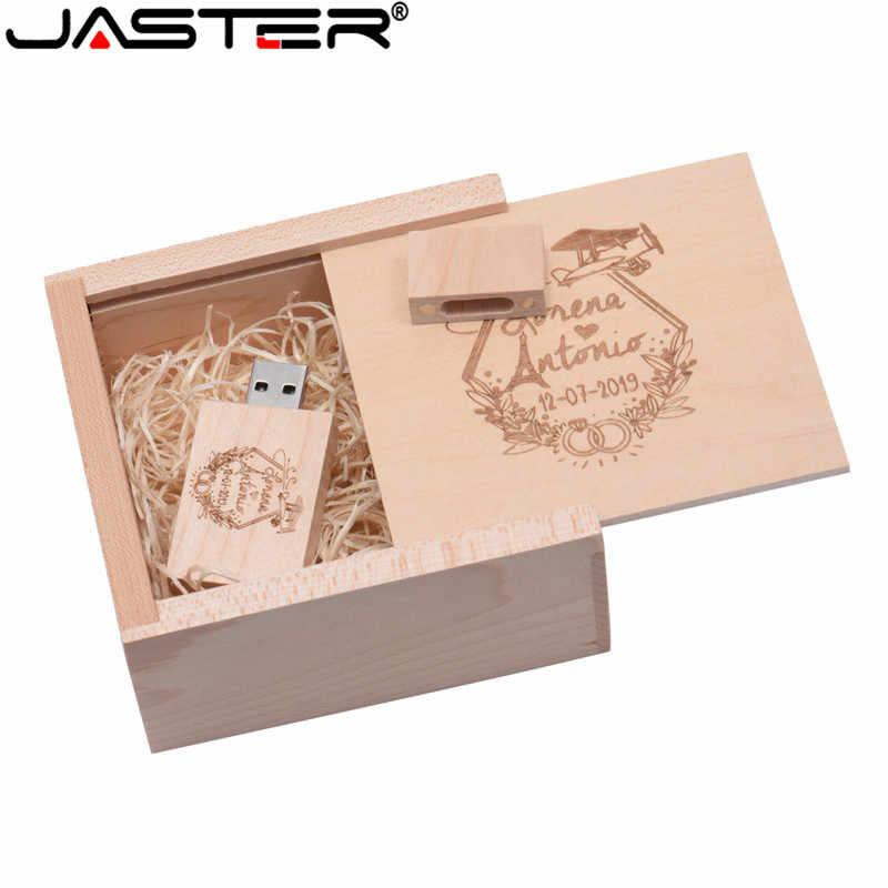 JASTER USB 2,0 (más de 10 piezas logotipo gratis) usb de madera + caja usb flash drive memoria usb stick 2GB 4GB 8GB 16GB 32GB 64GB boda regalos 10,5*10,5