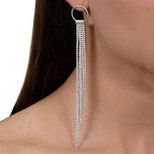 NJ Long Tassel Vintage Drop Earrings Chain Dangle For Women Girls Silver Wedding Jewelry Christmas Present