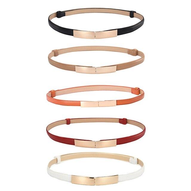Belt dress simple versatile  Fashion Women Leather Belt Thin Skinny Metal Gold Elastic Buckle Waistband Belt Dress Accessories 4