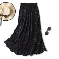 New waist black and white polka dot silk skirt French romantic small A shape slim temperament elegant resurrection f0218