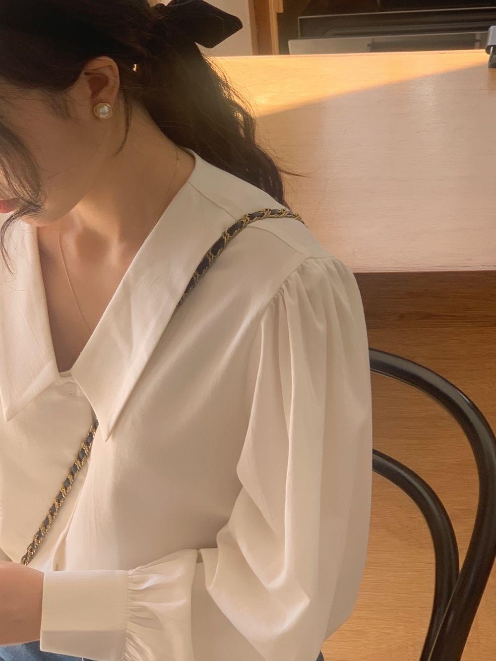 H624479e1e70841d2b5582fadbfd1a71ce - Spring / Autumn Chelsea Collar Long Sleeves Solid Blouse