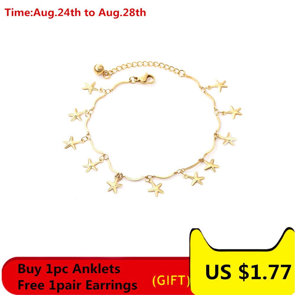 LUXUSTEEL Anklets For Women Foot Accessories Stainless Steel Star Shape 20cm+5cm Adjustable Bracelet Anklet On The Leg Female